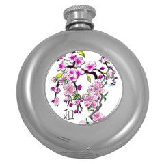 Cherry Bloom Spring Hip Flask (Round)