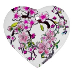 Cherry Bloom Spring Heart Ornament (two Sides)