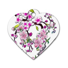 Cherry Bloom Spring Dog Tag Heart (Two Sided)