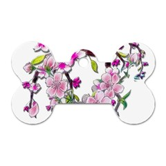 Cherry Bloom Spring Dog Tag Bone (one Sided)