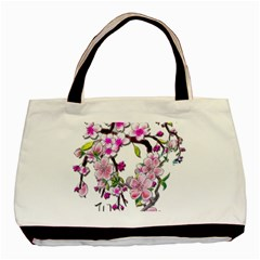 Cherry Bloom Spring Twin Sided Black Tote Bag