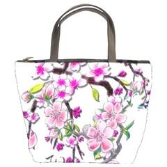Cherry Bloom Spring Bucket Handbag