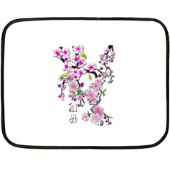 Cherry Bloom Spring Mini Fleece Blanket (Two Sided)