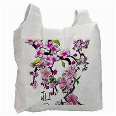 Cherry Bloom Spring White Reusable Bag (Two Sides)
