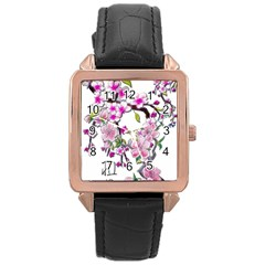 Cherry Bloom Spring Rose Gold Leather Watch