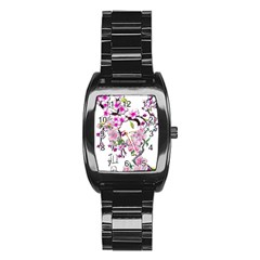 Cherry Bloom Spring Stainless Steel Barrel Watch