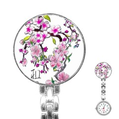 Cherry Bloom Spring Stainless Steel Nurses Watch