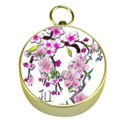 Cherry Bloom Spring Gold Compass