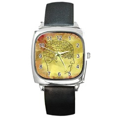 Brain Map Square Leather Watch