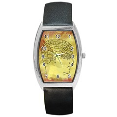 Brain Map Tonneau Leather Watch