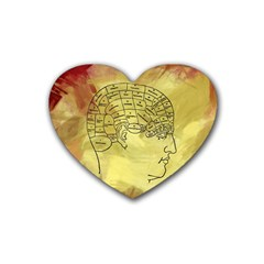 Brain Map Drink Coasters 4 Pack (heart)
