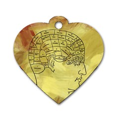 Brain Map Dog Tag Heart (One Sided)