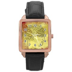 Brain Map Rose Gold Leather Watch