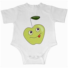 Cute Green Cartoon Apple Infant Bodysuit