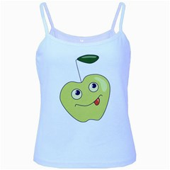 Cute Green Cartoon Apple Baby Blue Spaghetti Tank