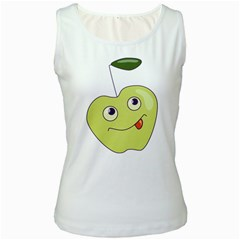 Cute Green Cartoon Apple Women s Tank Top (White)