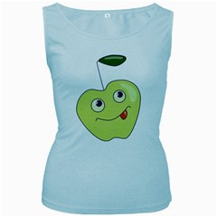 Cute Green Cartoon Apple Women s Tank Top (Baby Blue)