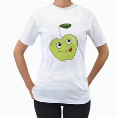 Cute Green Cartoon Apple Women s T-Shirt (White)