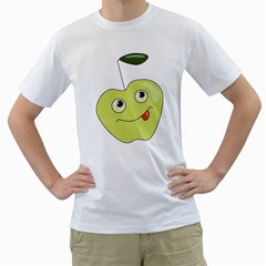 Cute Green Cartoon Apple Men s T-Shirt (White)