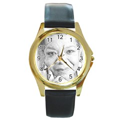 Maya  Round Leather Watch (gold Rim)