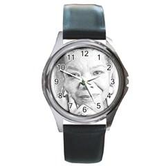 Maya  Round Leather Watch (Silver Rim)
