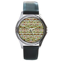 Aztec Grunge Pattern Round Leather Watch (Silver Rim)