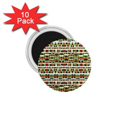 Aztec Grunge Pattern 1.75  Button Magnet (10 pack)
