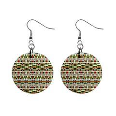 Aztec Grunge Pattern Mini Button Earrings