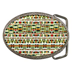 Aztec Grunge Pattern Belt Buckle (Oval)