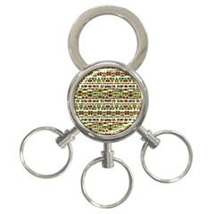 Aztec Grunge Pattern 3-Ring Key Chain