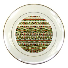 Aztec Grunge Pattern Porcelain Display Plate