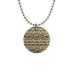 Aztec Grunge Pattern Button Necklace