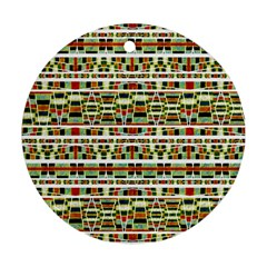 Aztec Grunge Pattern Round Ornament (two Sides)