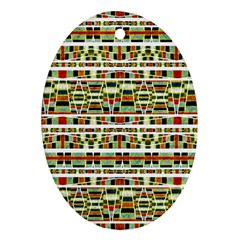 Aztec Grunge Pattern Oval Ornament (Two Sides)