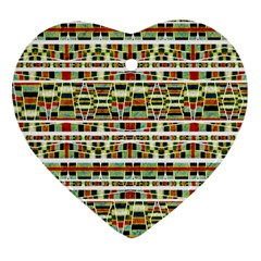 Aztec Grunge Pattern Heart Ornament (Two Sides)