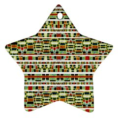 Aztec Grunge Pattern Star Ornament (Two Sides)