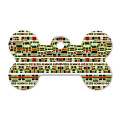 Aztec Grunge Pattern Dog Tag Bone (one Sided)