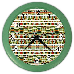 Aztec Grunge Pattern Wall Clock (color)