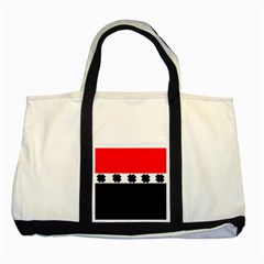 Red, White And Black With X s Design By Celeste Khoncepts Two Toned Tote Bag