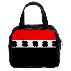 Red, White And Black With X s Design By Celeste Khoncepts Classic Handbag (two Sides)
