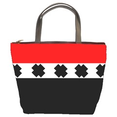 Red, White And Black With X s Design By Celeste Khoncepts Bucket Handbag