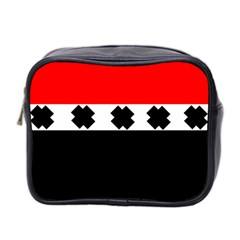 Red, White And Black With X s Design By Celeste Khoncepts Mini Travel Toiletry Bag (two Sides)