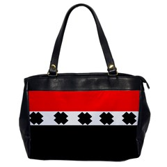 Red, White And Black With X s Design By Celeste Khoncepts Oversize Office Handbag (one Side)