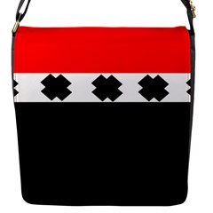 Red, White And Black With X s Design By Celeste Khoncepts Flap Closure Messenger Bag (Small)