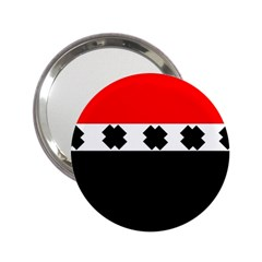 Red, White And Black With X s Design By Celeste Khoncepts Handbag Mirror (2.25 )