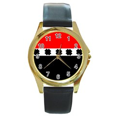 Red, White And Black With X s Design By Celeste Khoncepts Round Leather Watch (gold Rim)