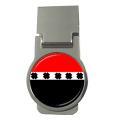 Red, White And Black With X s Design By Celeste Khoncepts Money Clip (round)