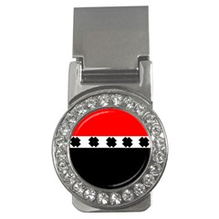 Red, White And Black With X s Design By Celeste Khoncepts Money Clip (cz)