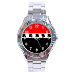 Red, White And Black With X s Design By Celeste Khoncepts Stainless Steel Watch