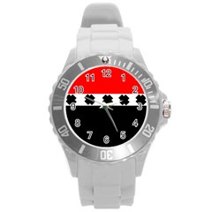 Red, White And Black With X s Design By Celeste Khoncepts Plastic Sport Watch (Large)
